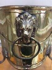 Brass Planter Flower Pot Claw Feet Lion Head  With Ring Vintage See Measurements