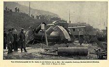 Zugunglück bei St.Gallen Schweiz Entgleister Nachtzug Mailand Bilddokument 1902