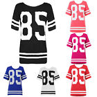 Womens Ladies Oversized Baggy Jersey American Baseball 85 Printed T Shirt Top