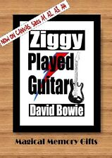 David Bowie Ziggy played guitar lyric inspired quote poster print A4 gift icon