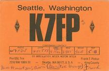 QSL K7FP Seattle WA to St. Helens OR  used postcard 1977 bad cancel