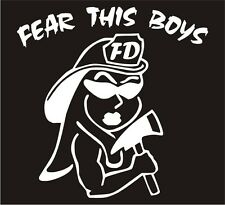 "Firefighter Decal - Fear This Boys Female 4"" Exterior Window Decal in White"