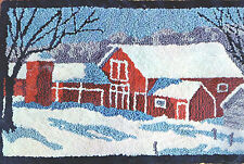 RUSTIC RED BARN Vintg Stamped Canvas For Punch Needle RUG/WALL HANGING Farmhouse