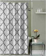 Gray White Embossed Fabric Shower Curtain: Floral Damask Design