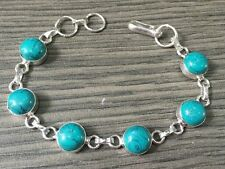 AMAZING TURQUOISE STONE.925 STERLING SILVER PLATED DESIGNER BRACELET 14 GMS