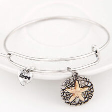 D28 Wire Textured Copper Color & Silver Textured Starfish Charm Bangle Bracelet