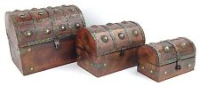 3 Piece Wooden Pirate Treasure Chests With Metal Accents Round Top Nesting Boxes