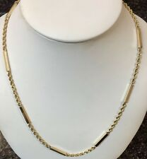 """28.5"""" 22.6 grams 14k Solid Yellow Gold Rope Twist and Bar Chain Necklace"""