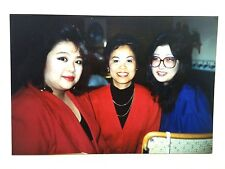 Vintage 80s Photo Asian Woman Group Business Meeting Red Blazers Purple Glasses