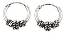 New 925 Sterling Silver 12mm Tribal Bali Hoop Earrings EP805