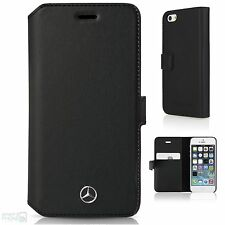 MERCEDES VERA PELLE iPhone 5,5s, se Book Case Cover Custodia Telefono BLACK