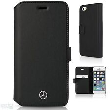 Mercedes Echtleder iPhone 5,5s,SE Book Case Cover Handytasche Schutzhülle black