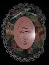 "SWEET FLORAL FABRIC PHOTO FRAME - FITS 3 1/2"" X 5"" PICTURE - LACE BORDER - NEW"