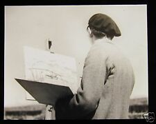 Glass Magic Lantern Slide ARTIST PAINTING A SEASIDE HARBOUR SCENE C1920