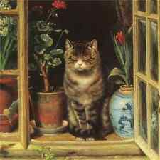 Beautiful Oil painting Dozing cat in a window with flowers landscape canvas