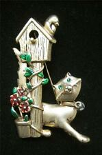 NEW CAT BIRD HOUSE PIN BROOCH KITTY KITTEN FLOWERS PLAYFUL SNEAKY HUNTING PLAY