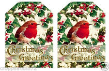 CHRISTMAS HOLLY RED BIRD (26-C) SCRAPBOOK CARD EMBELLISHMENTS HANG/GIFT TAG(S)
