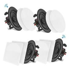 "4 Speakers 6.5"" Bluetooth Ceiling / Wall Speaker Kit, Flush Mount 2-Way Home"