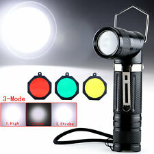 Adjustable Angle CREE XM-L T6 LED 1800Lm Flashlight Torch 5Modes +Filter 66
