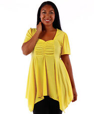NEW! WOMEN'S PLUS SIZE CLOTHING YELLOW BABYDOLL STYLE BLOUSE 6X