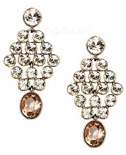 GIVENCHY Silk & Rose Crystal Brown Gold-Tone Chandelier Earrings $75