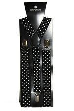 Black White Polka Dot Adjustable Braces Suspenders Fancy Dress Clip Slim 2.5cm