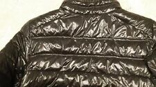 Shiny black wet look nylon glossy quilted puffer puffy puff jacket coat no down