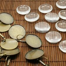 10sets DIY Transparent Domed Glass Cabochon Brass Photo Leverback Earring Making