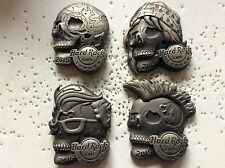 HARD ROCK CAFE LONDON 2015 SET OF 4 3D HEAVY BIKER SKULLS PINS