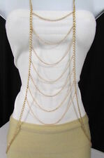 NEW WOMEN GOLD CHAINS LONG WAVES LAYERED METAL FULL BODY JEWELRY TRENDY NECKLACE