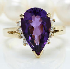 4.25 CTW Natural Purple Amethyst & Diamonds in 14K Solid Yellow Gold Women Ring