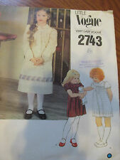 VINTAGE Little Vogue Girls Pattern #2743 Children's Dress Size 6X Sewing Uncut