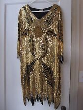 VINTAGE MAHARAJ Silk Gold Embellished Sequin Beaded Dress India Size M