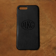 Personalized Monogram iPhone 7 Plus PU Leather Case - Black - Engraved in USA