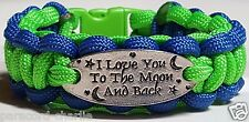I Love You to the Moon & Back NFL Seahawks Themed Green & Blue Paracord Bracelet