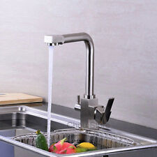 Brushed Nickel Kitchen 3 Way Sink Faucet Pure Water Filter Two Handles Mixer Tap