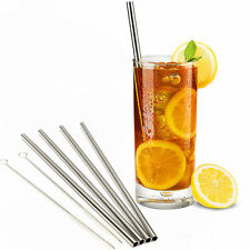 4 Reusable Metal Stainless Steel Cocktail Drinking Straws & 2 Cleaner Brush Set