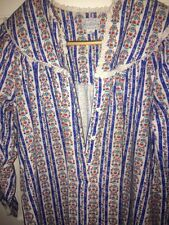 Lanz Salzburg Long Flannel Nightgown Red  Blue Stripes Small Heart Buttons EUC