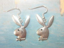 USA 32MM ANTIQUE SILVER TONE SEXY PLAYBOY BUNNY DANGLE CHARM EARRINGS