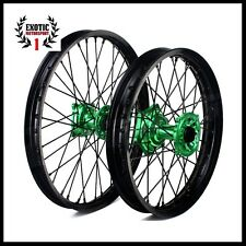 "Kawasaki KX250F KX450F WHEEL SET GREEN Hub Black Rim 19/21"" 2006/2014"