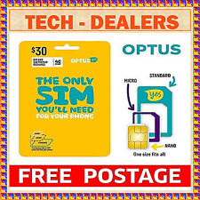 OPTUS $30 4G/3G SIM CARD+USE FOR VOICE CALL/DATA/TEXT+STANDARD/MICRO/NANO SIZE