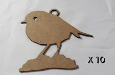 10 Pack of Quality MDF 8cm Christmas tree decorations  CHRISTMAS ROBIN 2    #036