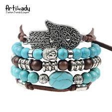 hamsa hand 5pcs set leather bracelets boho turquoise charm bracelet Budda Silver