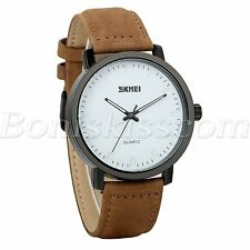 Mens Women Stylish Waterproof Genuine Leather Strap Precious Quartz Wrist Watch