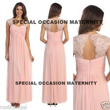 New Long Blush Pink Lace Cutout Back Maternity Dress Gown Chiffon MEDIUM Special