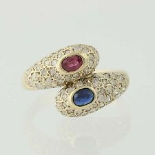 Ruby, Sapphire, & Diamond Bypass Ring - 14k Yellow Gold .95ctw