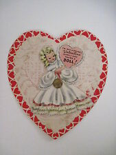Vintage Antique Valentine Card w/ A Girl Doll Holding a Valentine w/ Lace Doily*