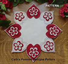 """*PATTERN* """"Valentine Heart Flowers"""" Wool Applique Penny Rug Candle Mat *PATTERN*"""