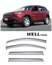 WELLVISORS Side Window Visors W/ Black Trim For Jeep Cherokee  2014-2017