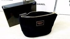 CHANEL BEAUTE BLACK Velvet Makeup Cosmetic VIP GIFT Velvet Plush Bag With Box